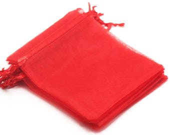 "10 means red organza gift bags ""plain"", 120 x 95 mm"