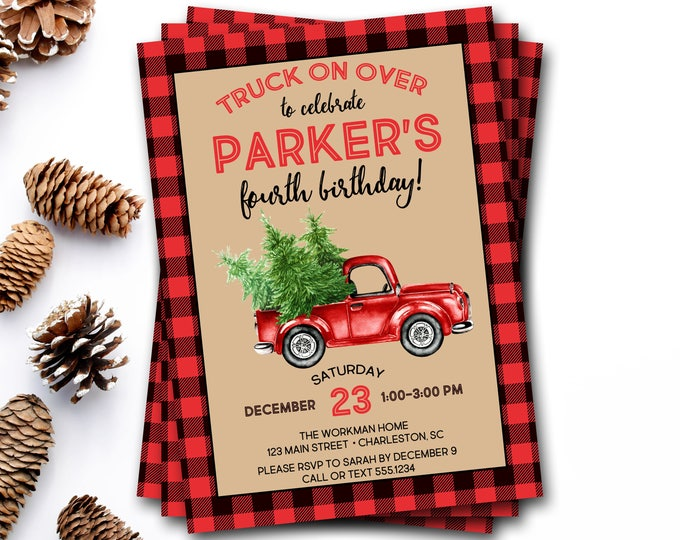 Christmas Truck Birthday Invitation, Winter Birthday Invitation, Lumberjack Birthday Invitation, Christmas Birthday Invite, Rustic Birthday