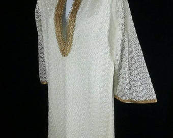 Vtg white all over embroidery tunic with gold braid trim size small chest 40in.