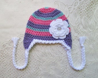 READY TO SHIP - 1 to 3 Year Size - Lavender, Medium Pink and Aqua Stripe Crochet Hat - Winter Hat or Photo Prop