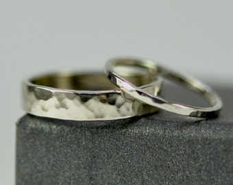 White Gold Wedding Set, 14K Palladium White Gold Hammered Bands, 1mm and 5mm, Custom Made to Order, Sea Babe Jewelry