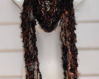Scarf Shawl Handknitted Multi Yarn Scarf Fringed Highly textured Airy Black/Brown Scarf
