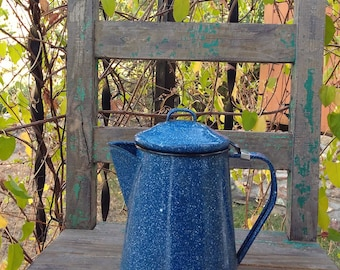 """Vintage Blue Speckled Enamel Camping Metal Coffee Pot measuring 9"""" Tall x 7.5"""" Wide x 4 1/4"""" Rim ~ Cowboy Kettle ~ Camping Cookware ~"""