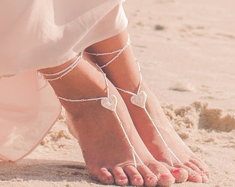 Barefoot Sandals- Foot Jewelry- Barefoot Wedding Sandal- Beach Wedding- Rose Gold Bridesmaid gift- Beach Wedding Shoes- Boho Wedding Shoes