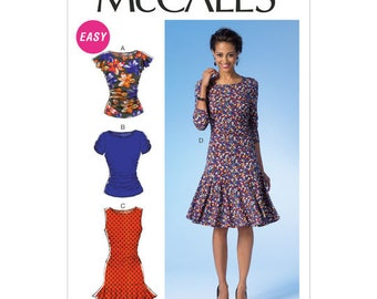 McCall's M7046 Size 6-14 or 14-22 Misses' Ruched Tops and Dresses Sewing Pattern / UNCUT Factory Folded