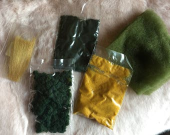 fake grass and shrubs for miniature models, trees, plants, dollhouse or model train