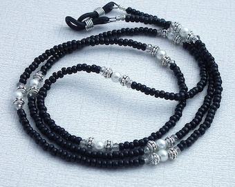 Black Seed Bead Eyeglass Chain - Basic Reading Glasses Holder for Seamstress, Beader, Knitter