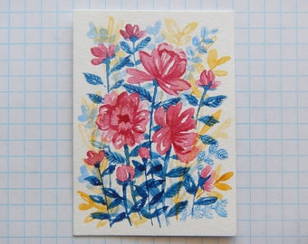 Tiny Floral Watercolor ACEO 2.5x3.5""