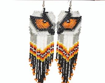Earrings beaded wolf-eyed