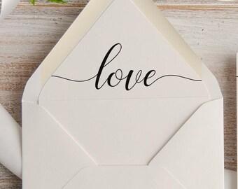 Instant Download Printable Love Calligraphy Envelope Liner, Wedding Invitation