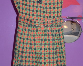 "1950's Dress Little Girls Green Red and Dark Blue True Vintage Bust 30"" Waist 30"""