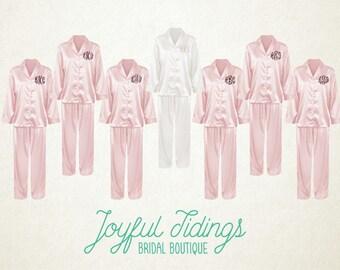 FREE PAJAMAS Set of 7+ Personalized Pink Satin Pajama Sets, Bridesmaid's Gift, Bridal Party Gifts, Bridesmaids Gift Set, Wedding PJs