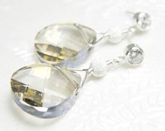 Silver Swarovski Crystal Earrings, Gray Teardrop, Sterling Silver Cubic Zirconia Post, Bridesmaid Wedding Jewelry, Winter Christmas Gift