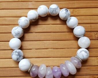 10 mm Howlite stone beads,  Amethyst stone bracelet