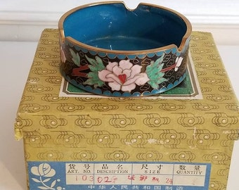 Vintage Cloisonne Ashtray, Blue Floral Ashtray, Cloisonne Ware, Lotus, Chinese, Peoples Republic of China, Cloisonne, In Original Box