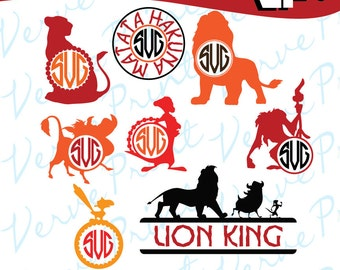 Lion King Svg, Lion King Monogram Frame Svg, Ai, Eps, Pdf, Png Cutting file, Silhouette Clip Art svg Commercial use