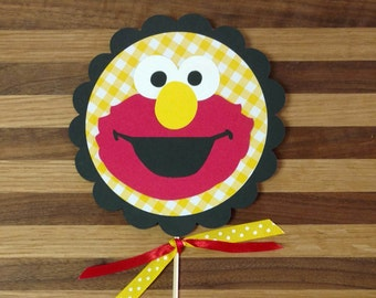 Gingham Elmo Cake Topper, elmo topper, elmo party, elmo decor, elmo centerpiece, sesame street topper, sesame street party, elmo theme, elmo