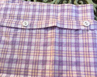 SALE !! Vintage pillow case, checked cushion cover, checked sham, purple cushion cover, purple and white fabric, very large pillow case.