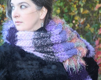 "Luxury Hand-Knit Doctor Who Scarf ""Two Doctors"" Scarf in Lavendar, Pink, and Purple, Multi-Textured, Long, Striped, Fuzzy, Soft, Warm!"