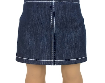 Blue Stretch Denim Mini Skirt with WhiteTopstitching - Doll Clothes made for 18 inch American Girl Dolls