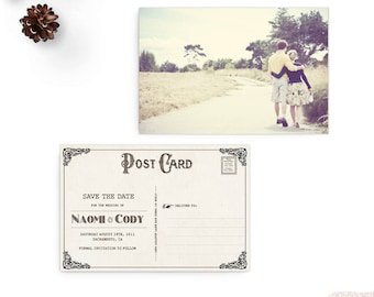 """Photo Save the Date Postcards, Save the Date Announcements, 4x6 card, Vintage wedding stationery - the """"Naomi"""""""