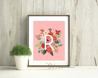 Personalized Initial with Pink Bouquets