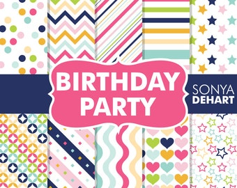 80% OFF SALE Digital Paper Birthday Party Commercial Use  Clipart