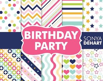 Digital Paper Birthday Party | digital paper, happy birthday, digital paper pack, birthday digital, birthday paper, scrapbook paper