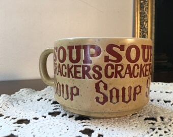 Vintage Soup Mug/Bowl - Stoneware Ceramic