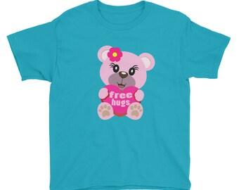 Free Hugs Teddy Bear Youth Short Sleeve T-Shirt