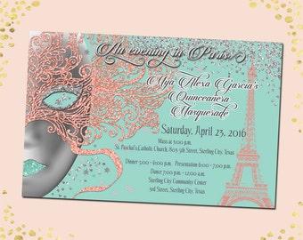 Masquerade Quinceañera Invitation Mardi Gras Quinceañera Invitation Paris Sweet 15 Invitations Sweet 15 Invitation