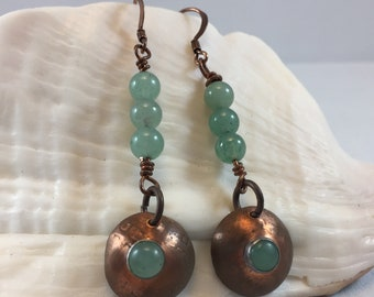 Earrings- Copper and Aventurine