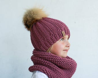 SALE! Hat and scarf set, Toddler pom pom hat and cowl, cable knit baby toddler merino kids knit hat and bubble cowl, kids fur pom pom hat