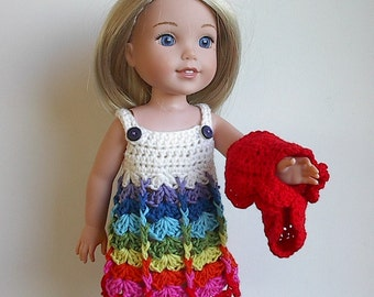 """14.5"""" Doll Clothes Crocheted Dress and Bolero Shrug Handmade to fit Wellie Wishers dolls - White with Rainbow Colors"""