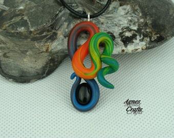 "Hand sculpted pendant, Rainbow ""Pretty Curl"", gemstone, Black Onyx"