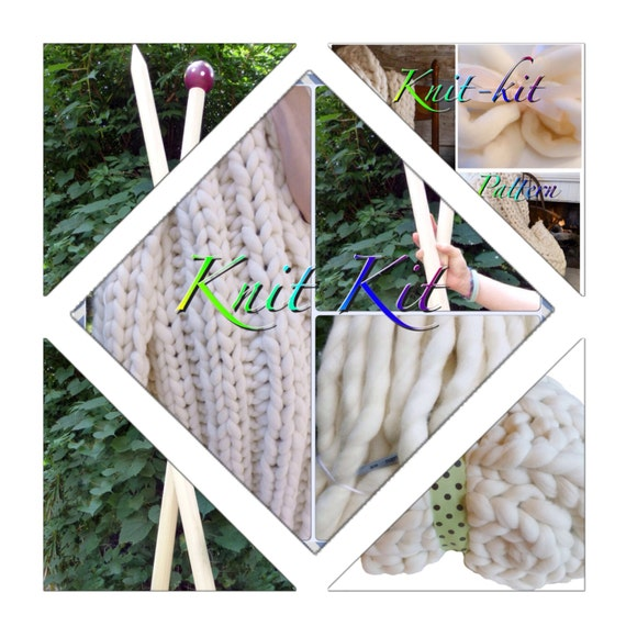 "KNIT-KIT, Chunky Blanket, 24"" Needles,4# Chunky Yarn, Tutorial, Patterns,"