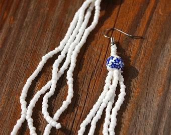 Simply Sweet Floral Blue + White Seed Bead Fringe Earrings