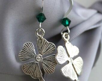 Lucky Four Leaf Clover Shamrock Sterling earrings