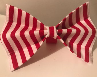 Red and White Striped Dog Bow Tie in Small, Medium or Large