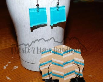 New Mexico Shaped Dangle Earrings