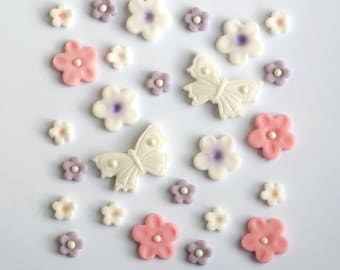 Edible Fondant Sugar Girly Pink Flowers and Butterflies Cake Cupcake Topper Decoration