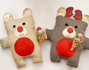 Reindeer and Bear Sewing Pattern PDF Instant Download Plush Stuffed Toy Tutorial. Fabric reindeer and bear pattern.