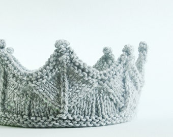 Knight Crown Headband for unisex Dress Up, Pretend Play, Adventure Play in Silver Gray Knit Lace Knit