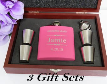 Set of 3 Personalized Pink Flasks // Maid of Honor Gift Box with Funnel and Shot Glasses // FREE ENGRAVING