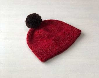 Dark Red Winter hat merino wool lining inside Handknit pom pom hat Mens hat Mens beanie hat Warm pom pm hat Mens knitted winter hat