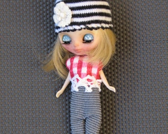Handmade Petite Blythe clothing set Beanie Hat, Top and Pants