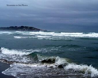 Fine art print, ocean waves, stormy seas, 8x10 landscape photo, Gloucester, dark sky, Massachusetts, coastal wall art, tabletop decor