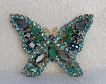 Stunning Juliana Blue Rhinestone Butterfly Brooch, Delizza and Elster Juliana