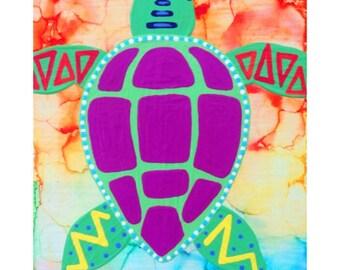 Tie-Dye Turtle Canvas
