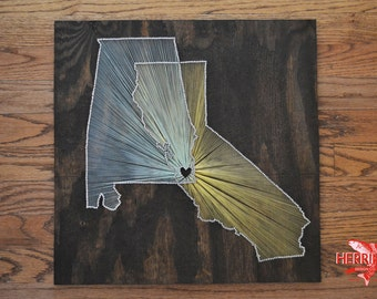 """Original Two State String Art with Two Colors - 18x18"""" - Two State One Heart Nail Art - Multiple State - Two City String Art"""